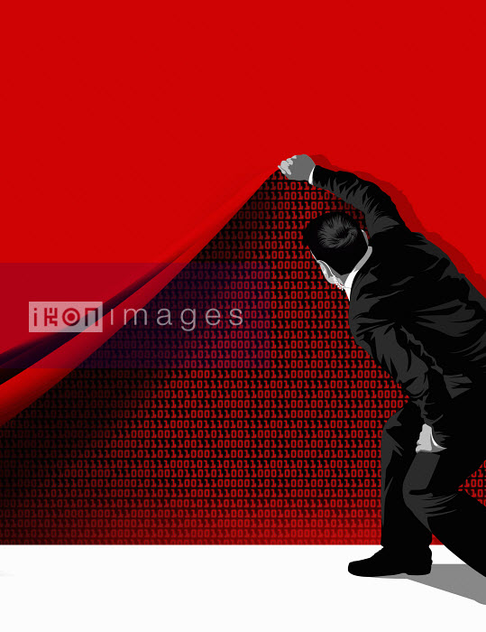 Man lifting red curtain with binary code behind it - Man lifting red curtain with binary code behind it - Taylor Callery