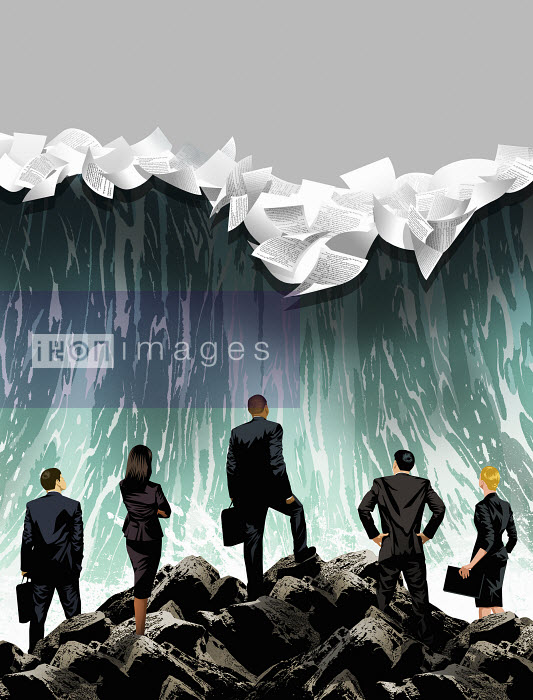 Businesspeople looking at breaking wave with papers - Businesspeople looking at breaking wave with papers - Taylor Callery