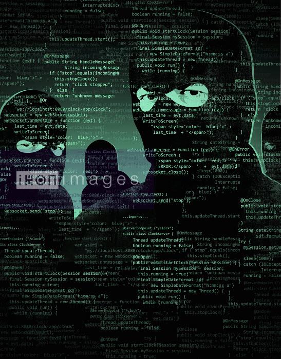 Men wearing balaclavas behind computer code - Men wearing balaclavas behind computer code - Taylor Callery