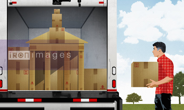 Man loading moving van with cardboard boxes in shape of university building - Man loading moving van with cardboard boxes in shape of university building - Taylor Callery
