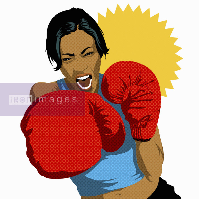 Portrait of aggressive female boxer - Portrait of aggressive female boxer - Taylor Callery