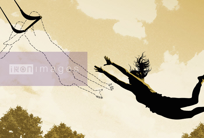 Woman in midair reaching for dotted line on trapeze - Woman in midair reaching for dotted line on trapeze - Taylor Callery
