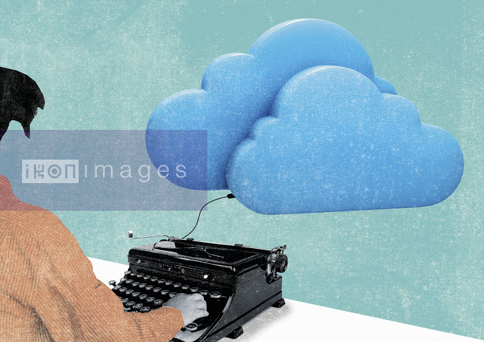 Writer at old-fashioned typewriter connected to cloud - Writer at old-fashioned typewriter connected to cloud - Patric Sandri