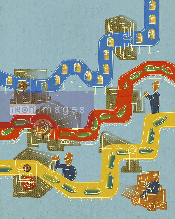 Workers in factory with abstract conveyor belts - Workers in factory with abstract conveyor belts - Otto Steininger