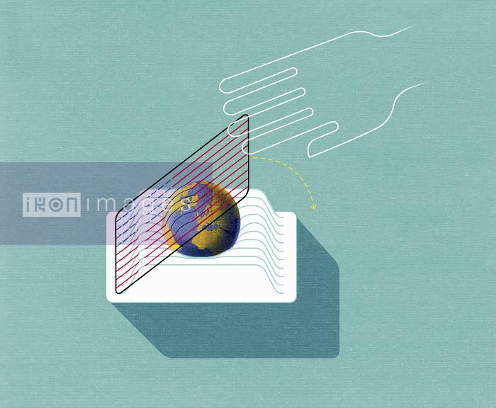 Hand with globe in egg slicer - Hand with globe in egg slicer - Otto Steininger
