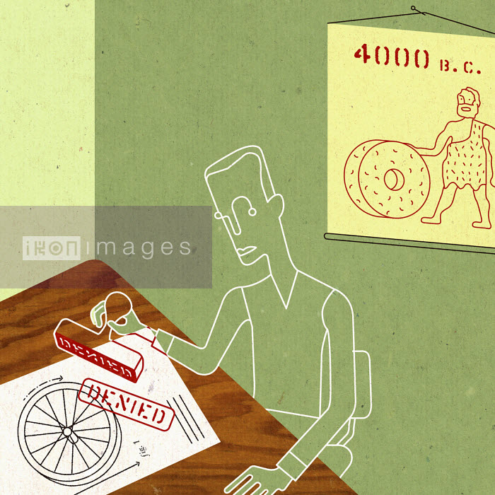 Office worker denying reinvention of the wheel - Office worker denying reinvention of the wheel - Otto Steininger