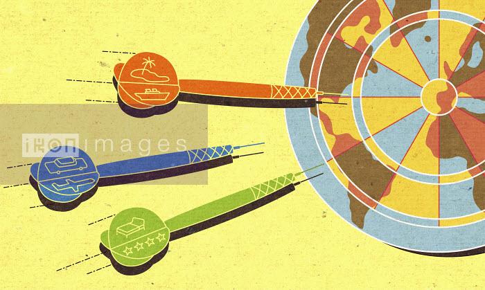 Travel darts approaching world map dartboard - Travel darts approaching world map dartboard - Otto Steininger