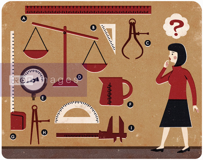 Woman with question mark looking at different measuring devices - Woman with question mark looking at different measuring devices - Adam Howling