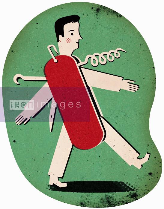 Man in shape of a pocket knife - Man in shape of a pocket knife - Adam Howling