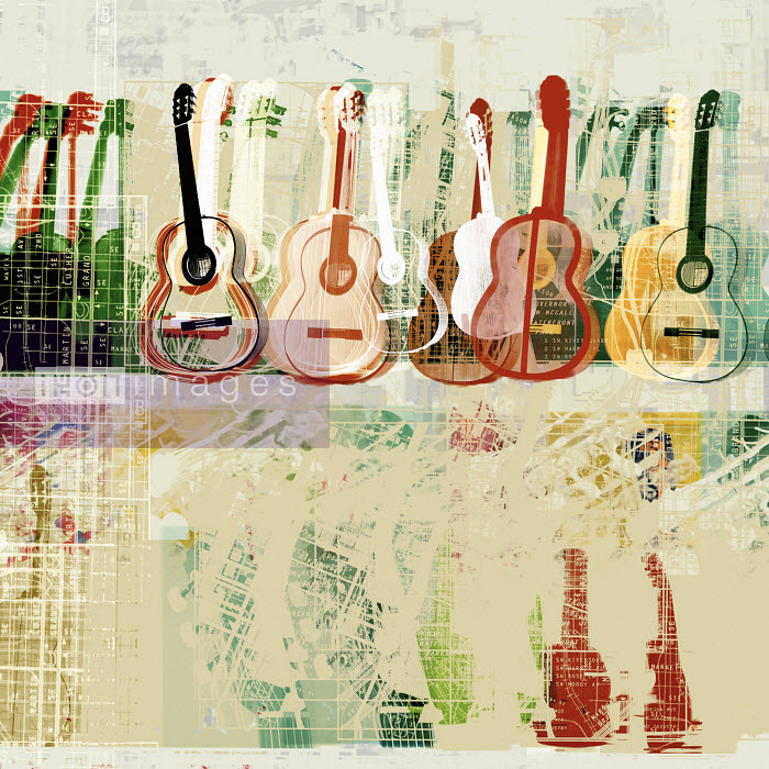 Collage of acoustic guitars and text - Collage of acoustic guitars and text - Chris Keegan