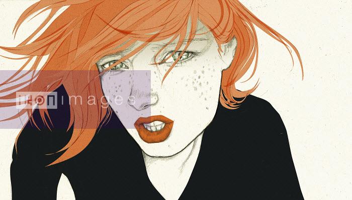 Portrait of a redheaded woman - Portrait of a redheaded woman - Denise Van Leeuwen