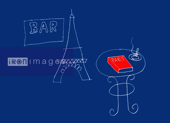 Eiffel Tower, bar sign and cigarette and guidebook of Paris on table - Eiffel Tower, bar sign and cigarette and guidebook of Paris on table - Huntley Muir