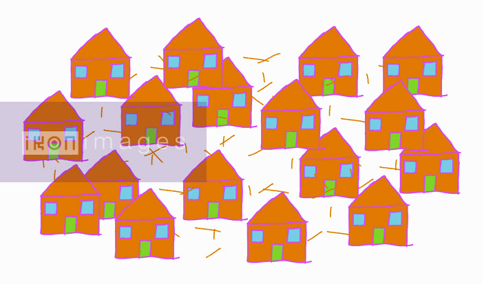Group of similar orange houses - Group of similar orange houses - Huntley Muir
