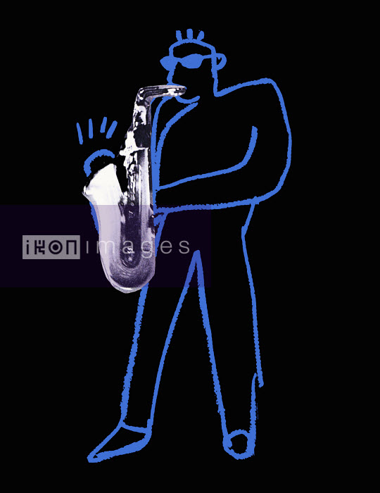 Outline of musician playing saxophone - Outline of musician playing saxophone - Huntley Muir