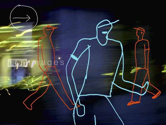 Outline of teenagers in motion with light trail - Outline of teenagers in motion with light trail - Huntley Muir