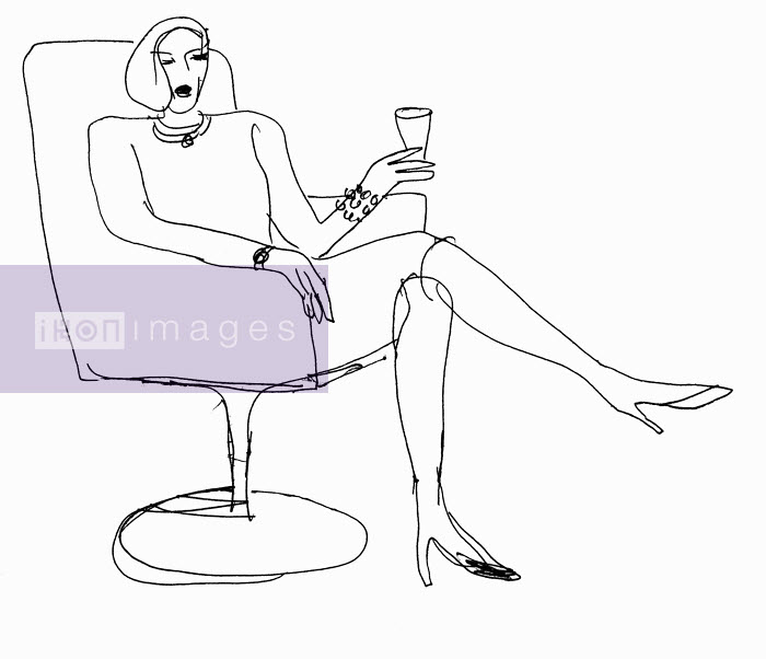 Elegant woman sitting in armchair - Elegant woman sitting in armchair - Huntley Muir