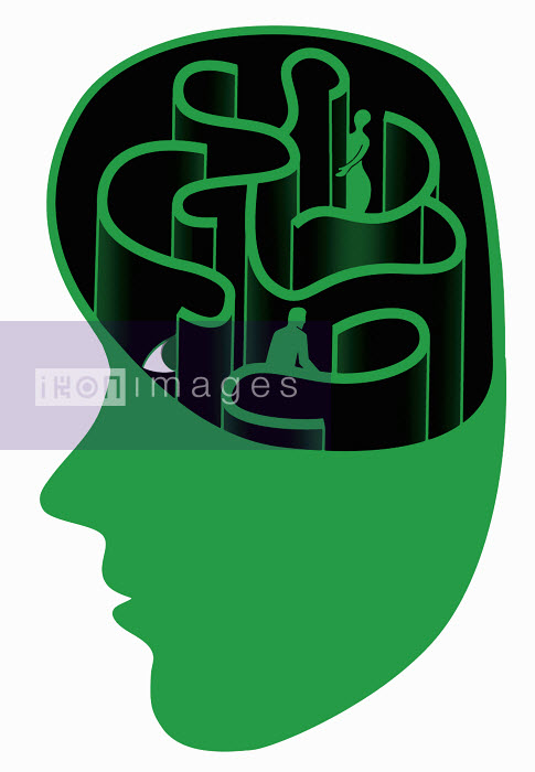Maze with two people inside man's head - Maze with two people inside man's head - Otto Dettmer