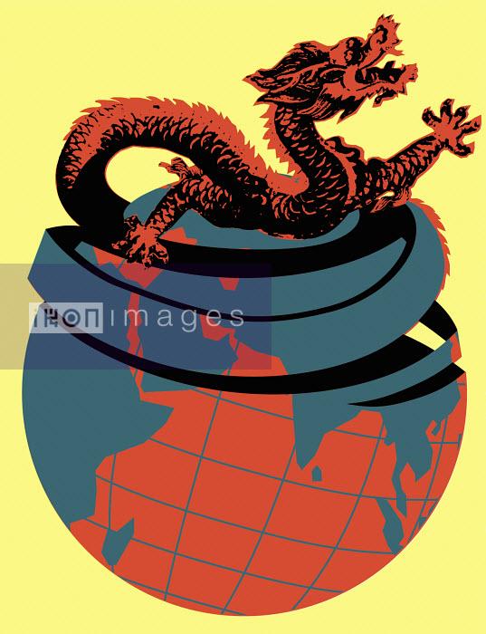 Asian dragon emerging from globe - Asian dragon emerging from globe - Otto Dettmer