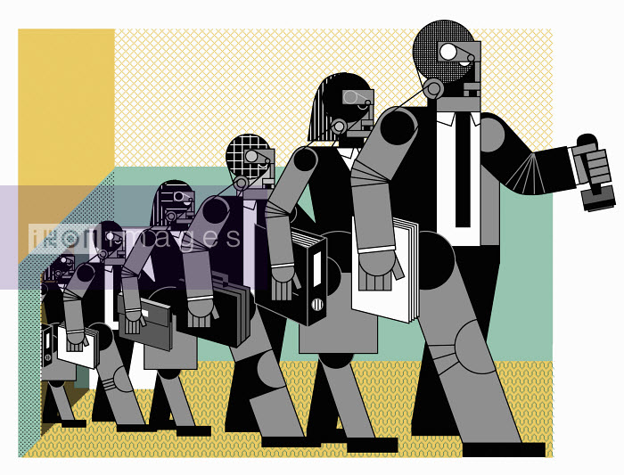 Robot like office workers walking in row - Robot like office workers walking in row - Otto Dettmer