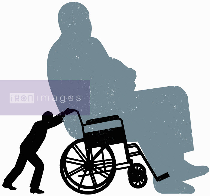 Small person pushing large person in wheelchair - Small person pushing large person in wheelchair - Otto Dettmer
