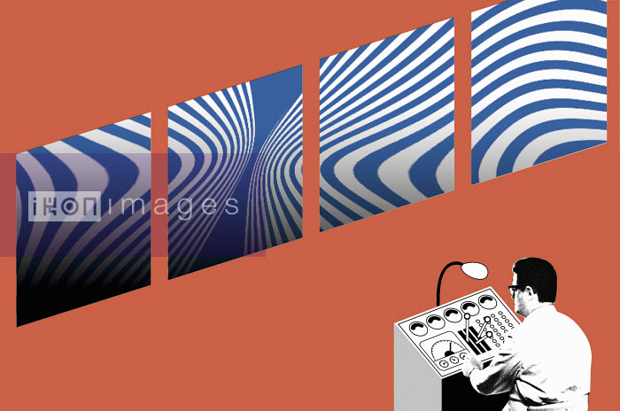 Man at control panel in front of curly patterns - Man at control panel in front of curly patterns - Otto Dettmer