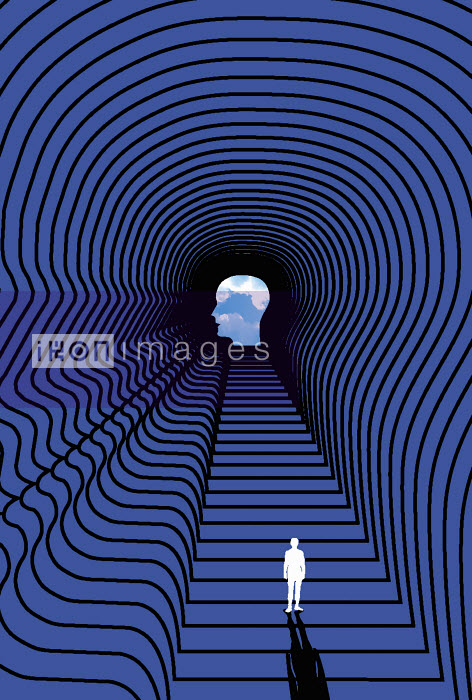 Person standing inside man's head - Person standing inside man's head - Otto Dettmer