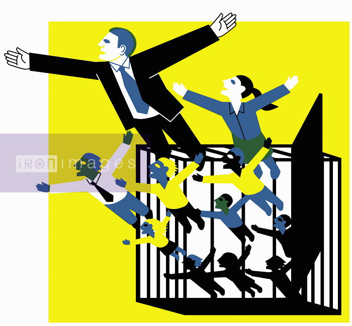 People escaping from cage - People escaping from cage - Otto Dettmer