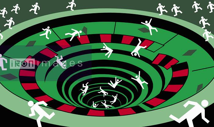 People falling into roulette wheel - People falling into roulette wheel - Otto Dettmer