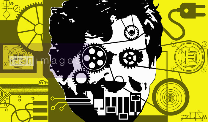 Collage on man's head with cogwheels and reels - Collage on man's head with cogwheels and reels - Otto Dettmer