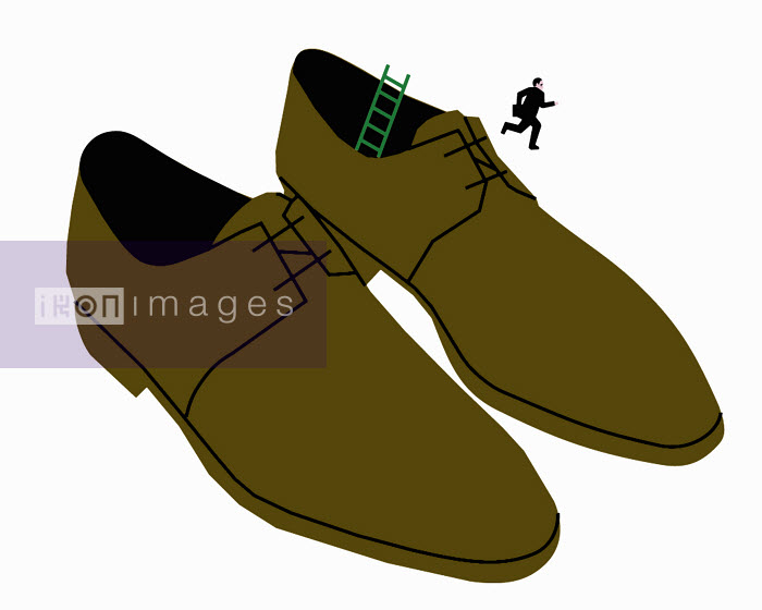 Businessman running away from oversized shoes - Businessman running away from oversized shoes - Otto Dettmer