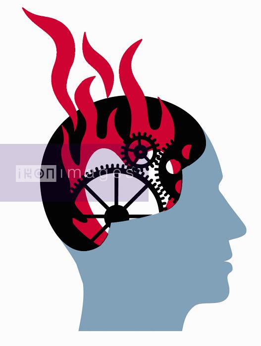 Cogwheels and fire inside man's head - Cogwheels and fire inside man's head - Otto Dettmer