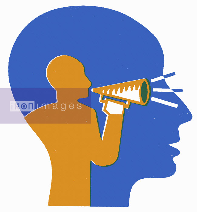 Projection of man with bullhorn inside man's head - Projection of man with bullhorn inside man's head - Otto Dettmer
