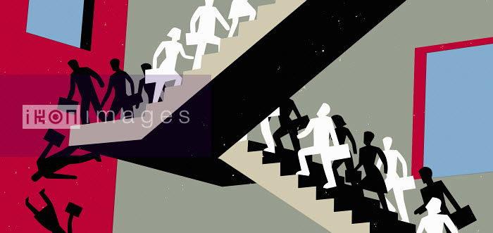 People on stairs walking up and falling down - People on stairs walking up and falling down - Otto Dettmer