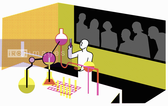 Scientist in laboratory experimenting watched by group of people - Scientist in laboratory experimenting watched by group of people - Otto Dettmer