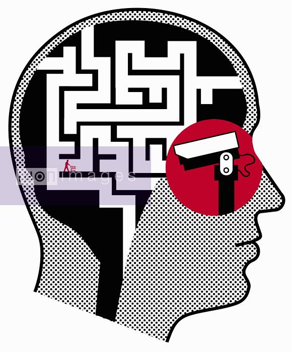 Customer inside man's head being filmed by surveillance camera - Customer inside man's head being filmed by surveillance camera - Otto Dettmer
