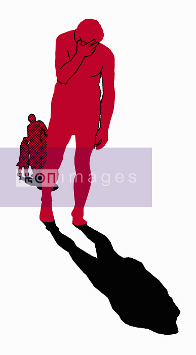 Sad man standing isolated from family - Sad man standing isolated from family - Otto Dettmer