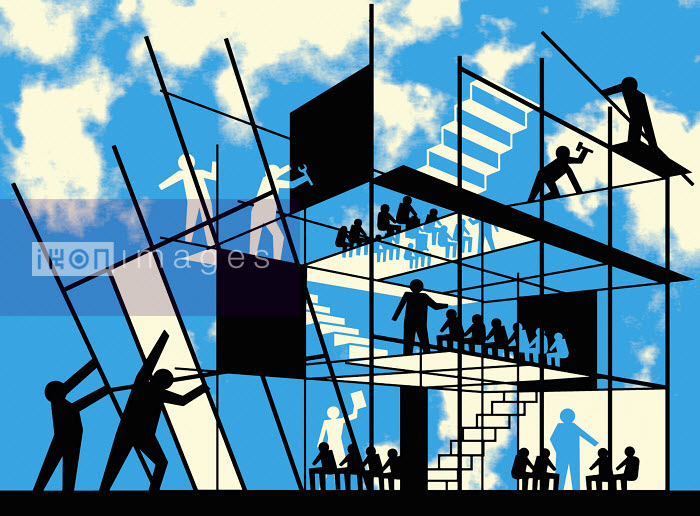 Teachers constructing school building - Teachers constructing school building - Otto Dettmer