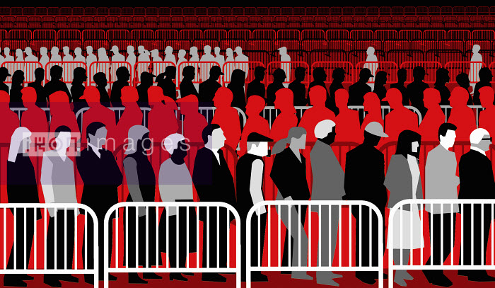 Large group of unemployed people waiting in line - Large group of unemployed people waiting in line - Otto Dettmer