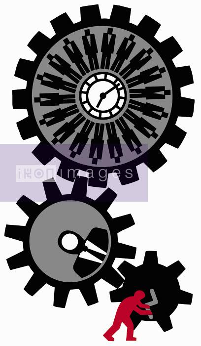 Employee turning cogwheel - Employee turning cogwheel - Otto Dettmer