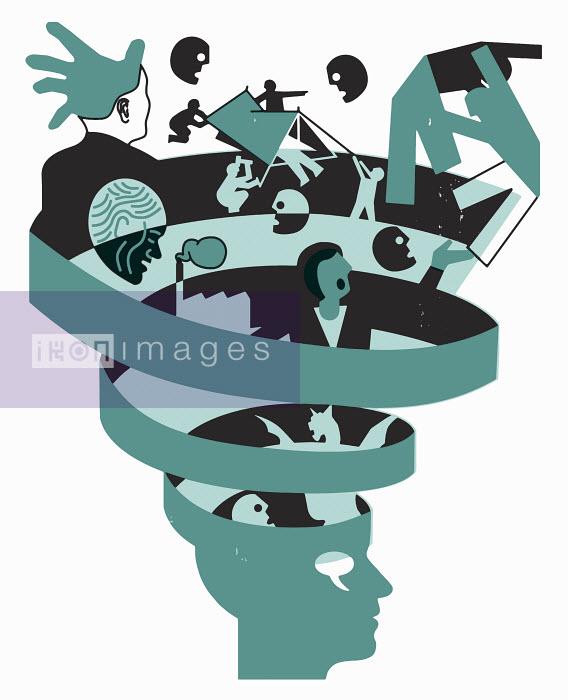 People sinking in vortex inside human head - People sinking in vortex inside human head - Otto Dettmer