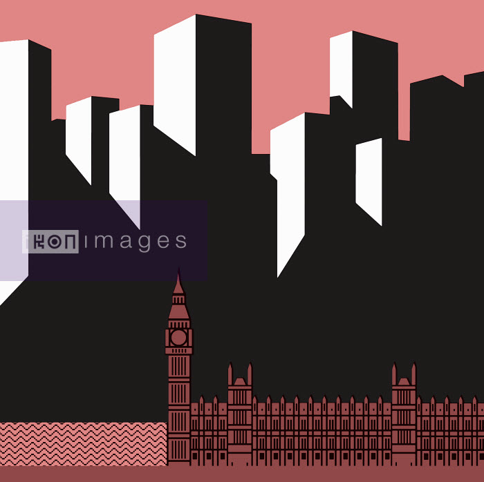 Simon Jenkins comment - Big Ben with Houses of Parliament in front of skyscrapers - Otto Dettmer