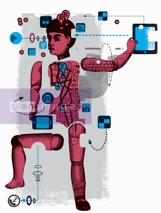 Boy figure surrounded by technology - Boy figure surrounded by technology - Otto Dettmer