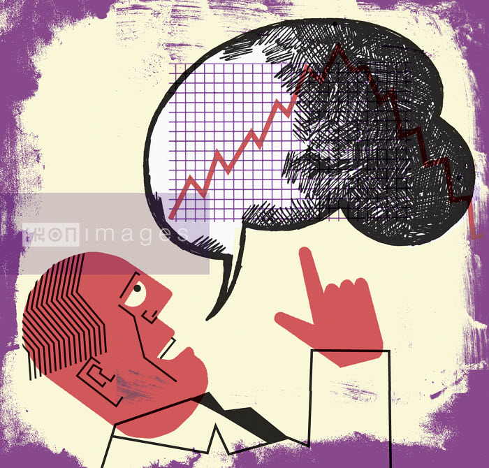Businessman talking in speech bubble with line graph - Businessman talking in speech bubble with line graph - Otto Dettmer