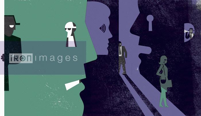 Spies observing woman - Spies observing woman - Otto Dettmer