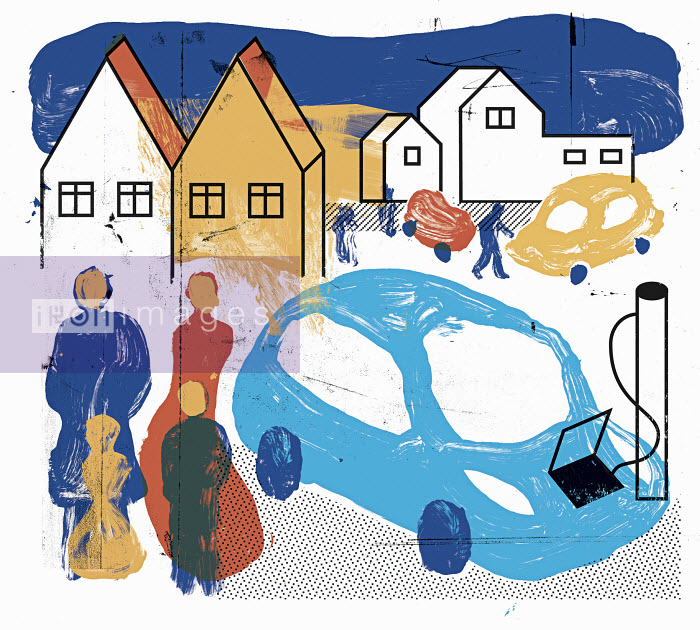 Collage with cars, people and houses - Collage with cars, people and houses - Otto Dettmer