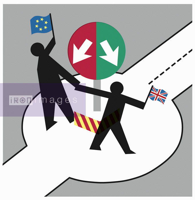 Two figures holding EU flag and Union Jack - Two figures holding EU flag and Union Jack - Otto Dettmer