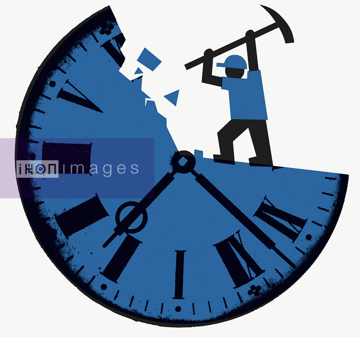 Worker destroying clock with pickaxe - Worker destroying clock with pickaxe - Otto Dettmer