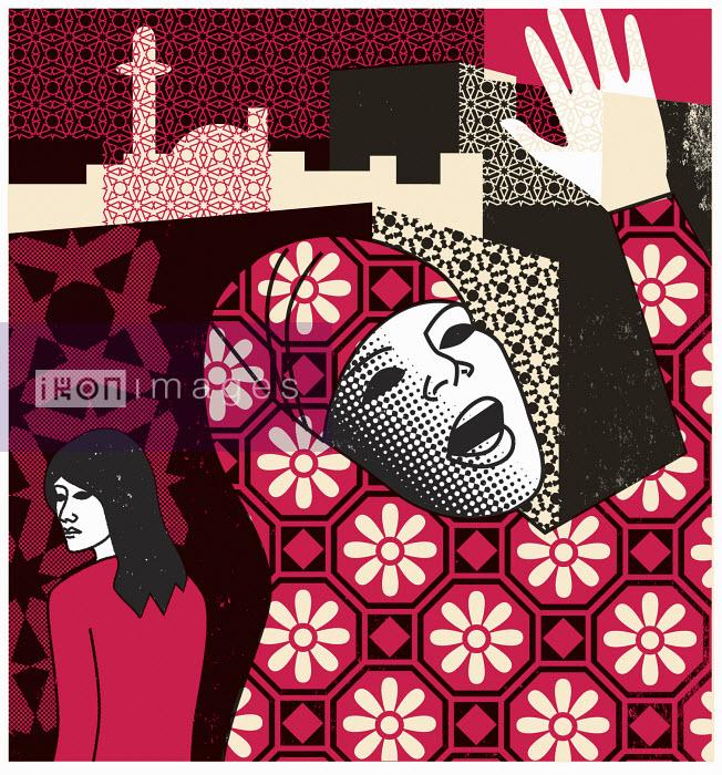 Muslim woman wearing hijab raising her hand - Muslim woman wearing hijab raising her hand - Otto Dettmer
