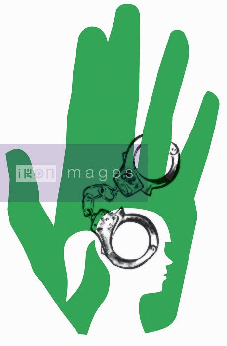 Handcuffs at ring finger and outline of woman - Handcuffs at ring finger and outline of woman - Otto Dettmer
