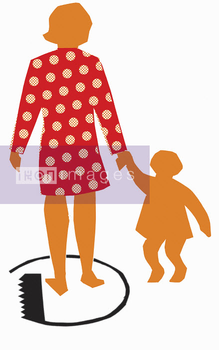 Mother standing in circle holding daughter's hand - Mother standing in circle holding daughter's hand - Otto Dettmer